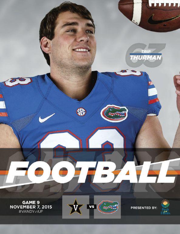 The official Florida Gators Football Roster Card: @floridagators vs. Vanderbilt, November 7, 2015. Cover features Trip Thurman.