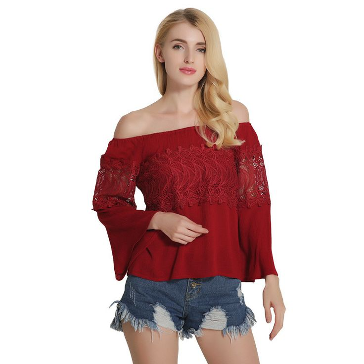 summer women sexy casual off shoulder top ladies strapless floral crochet lace blouse female flare sleeve loose shirt BLSA891 #Affiliate