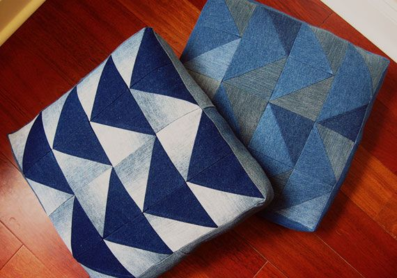 Make: Denim Arrow Cushion using old jeans