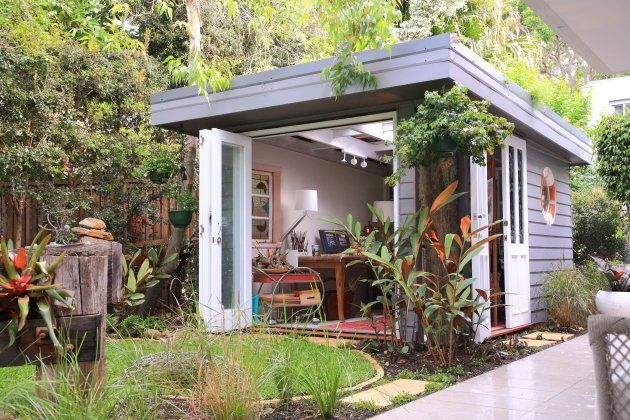 10 She Sheds That Put Man Caves to Shame - Photo 7 of 10 - In Avalon, Australia, Olaf von Sperl and Cindy Goode Milman designed a she shed for the corner of Milman's backyard with $15,500. As an artist, she sought a space that would work as both a functional studio as well as a place of respite to enjoy the beautiful year-round weather of the area. With a roof of translucent polycarbonate panels topped with a planted green roof, this she shed is one-of-a-kind.