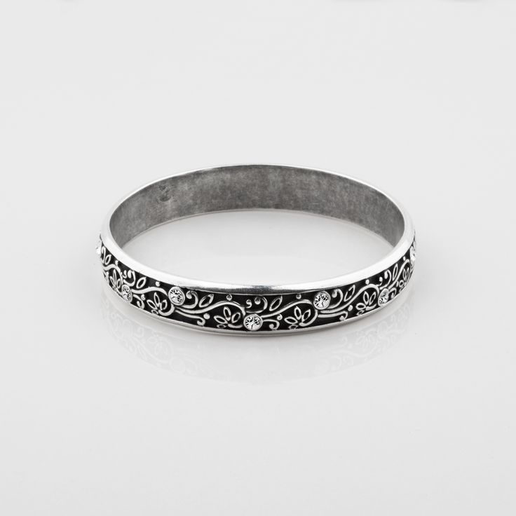 #miglio B1251 Burnished silver #bangle with leaf accents and #Swarovski #crystals - www.miglio.com