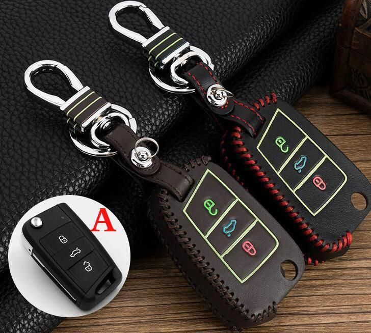 2017 Noctilucent Leather Car Key Case Holder Chain Cover For Vw Golf 7 Mk4 Mk6 Tiguan Cc R30 Jetta Polo Mk7 Passa Volkswagen Touran Volkswagen Jetta Volkswagen