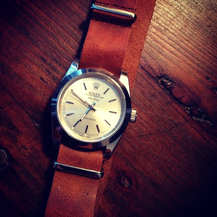 Rolex Air King Precision with nato leather strap