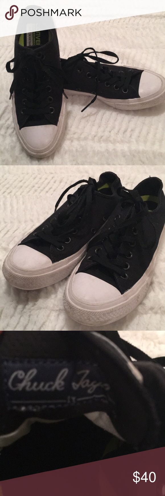 Big Boys Converse with Lunarlon black size 5 Converse black All Star size 5 boys. Can fit women's size 6 or 6 1/2.  In good condition. No rips holes and comes from a smoke free home. Converse Shoes Sneakers