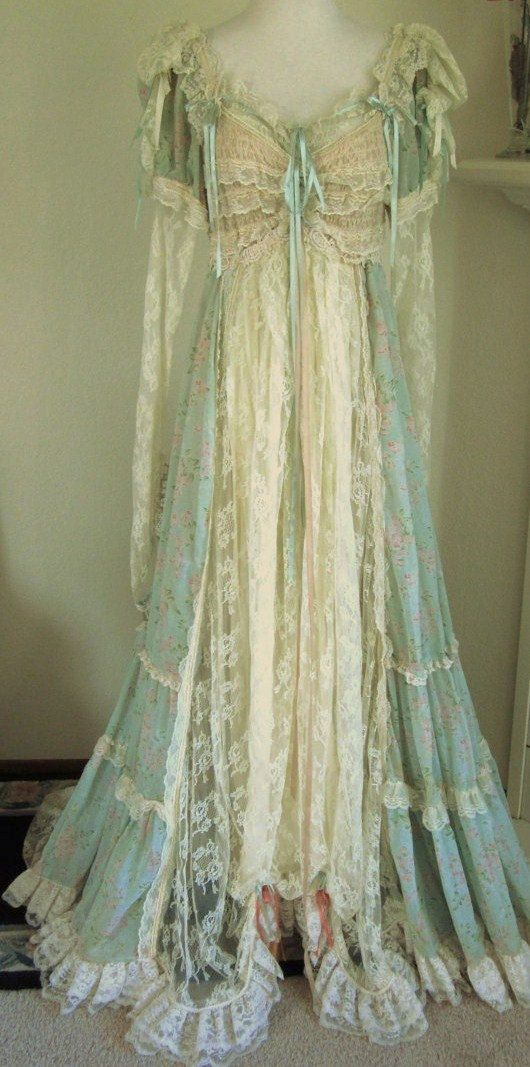 Dressing gown that is so delicate and dripping with beautiful lace. Wish I lived in that time