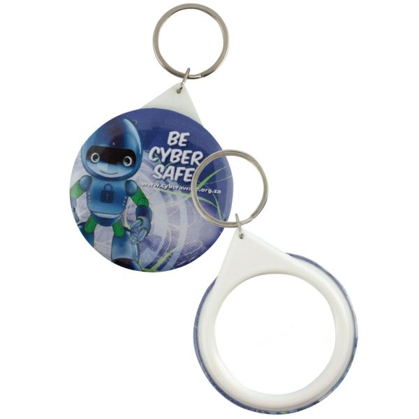 Mirror button badge keyring - 44mm Product Size: 44w x 44h Branding Type: digital Material: rust free metal & plastic