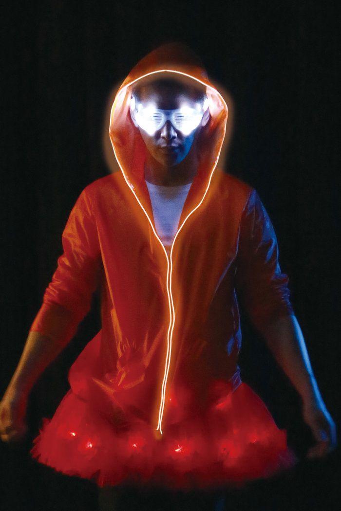 ELEX光るパーカー オレンジ 男性用 メンズ 仮装 コスチュームの画像3