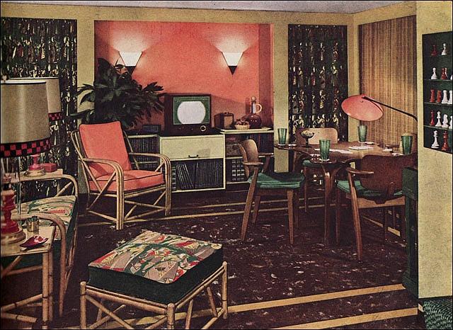 1950 Rattan Living Room...so modern it even had a TV!
