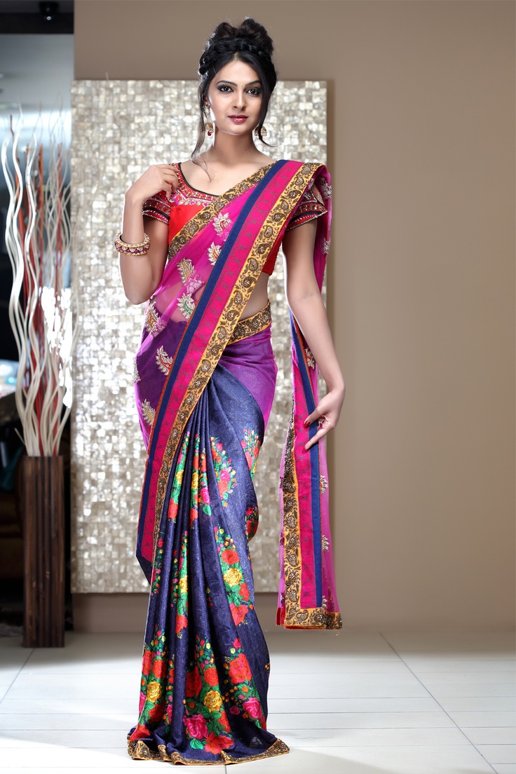SIMPLICITY, Just The Another Word for ELEGENCE... A Simple Smart Designer Pink & Blue Half-N-Half Saree In Net With Yellow Zari Work Border to add in the grace.