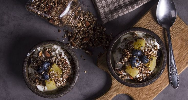 Sugar free granola with nuts and pineapple by chef Akis. A delicious crunchy granola with a lovely toasty flavor for those who are trying to avoid sugar.