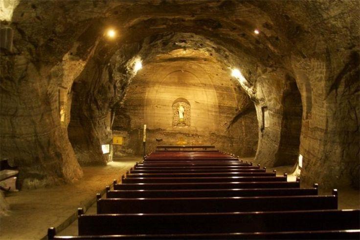 Соляной собор Сипакиры, Колумбия Название взялось не просто так. Собор был буквально высечен из пород в соляной шахте.