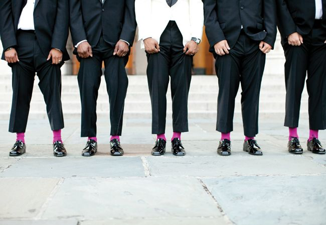 Fun pop of color for the groomsmen. Taken by Nancy Ray Photography // Featured: The Knot blog