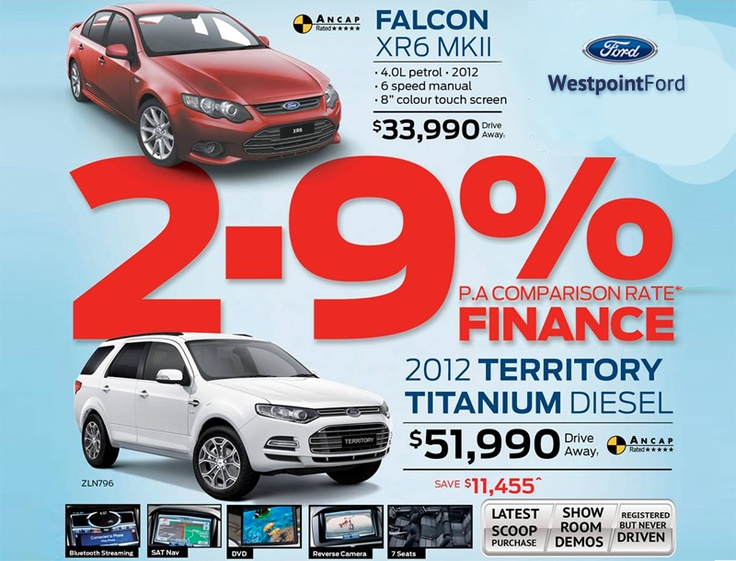 Westpoint Ford 2.9% P.A Comparative Rate* Finance Offer.   Falcon XR6 MKII $33,990 Drive Away  2012 Territory Titanium Diesel $51,990 Drive Away (save $11,455^).     Latest Scoop Purchase. Showroom Demos. Registered but never driven.    * Saving based on recommended retail price as at 6th February 2013. While stocks last.