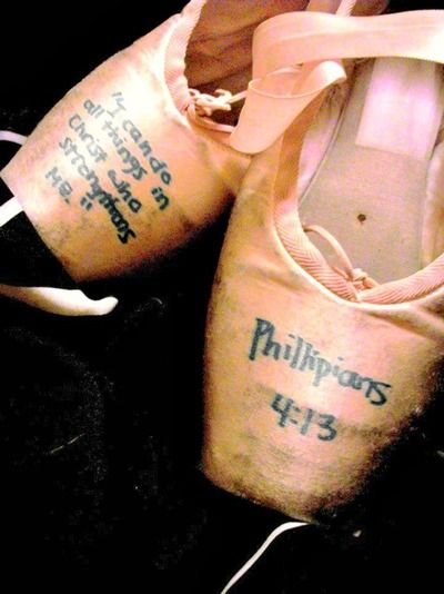 Bible Verse on Pointe Shoes!  Amazing idea for real dancing girls!!! and guys of course!! ~Alyssa Penner
