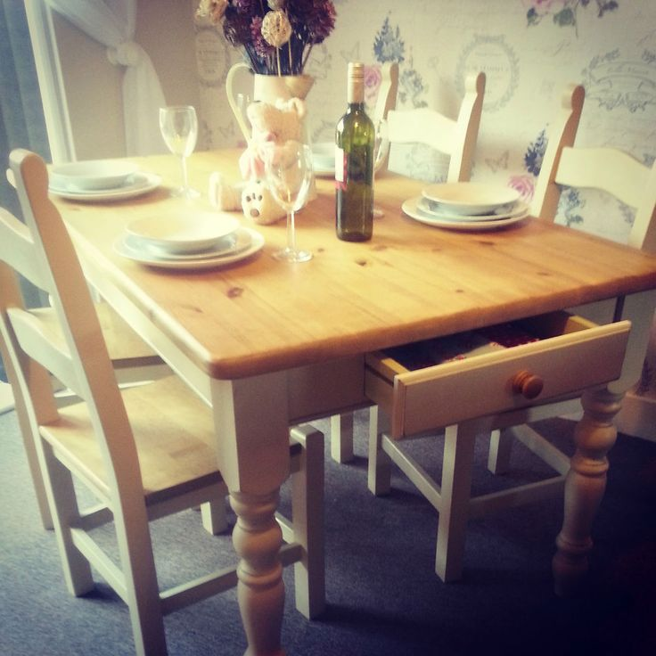 Shabby Chic Solid Pine Farmhouse Table with Cutlery Drawer and Oak Chairs. For sale now on ebay. Painted with Annie Sloan chalk paint