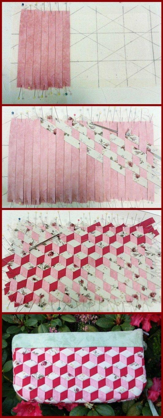 Aus Schrägbändern gewebtes Täschchen