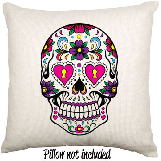 Mexican Day Of The Dead Sugar Skull Flower Decorative Linen Throw Cushion Case $27