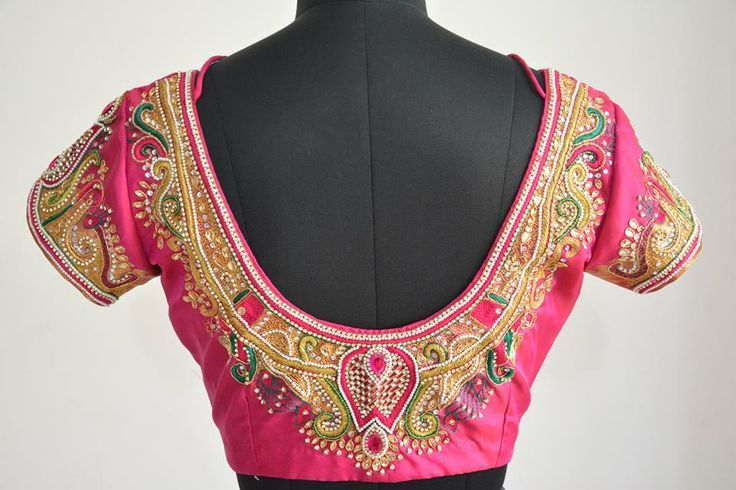 47. Pink Blouse with Curve design maggam work