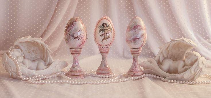 Oua Roz Pentru Masa De Paste, Cu Aspect De Marmura, Decorate Cu Ingerasi