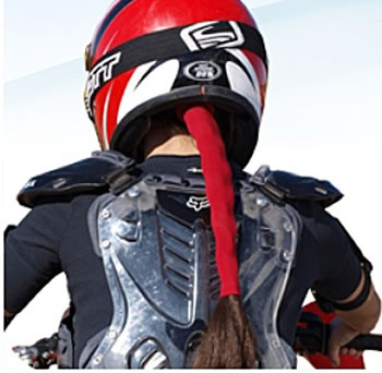 Another alternative to preventing dishevelled hair after a good ride on the highway... Ladies Wrapter Motorcycle Pony Tail Holder Price: $9.95