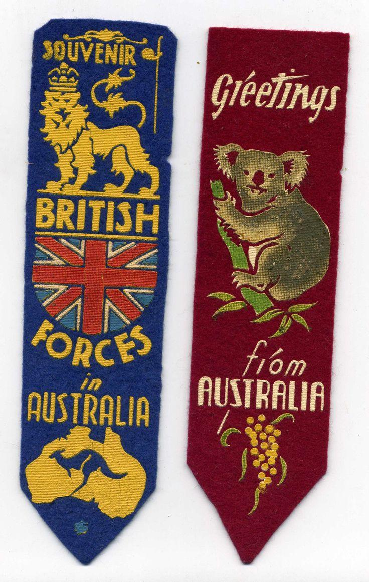 WW1 era - two Souvenir bookmarks British Forces in Australia.