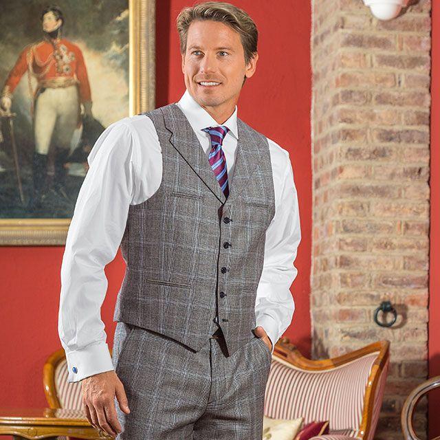 glencheck anzug weste baukasten system anzug grau blau schwarz 100 schurwolle die weste. Black Bedroom Furniture Sets. Home Design Ideas