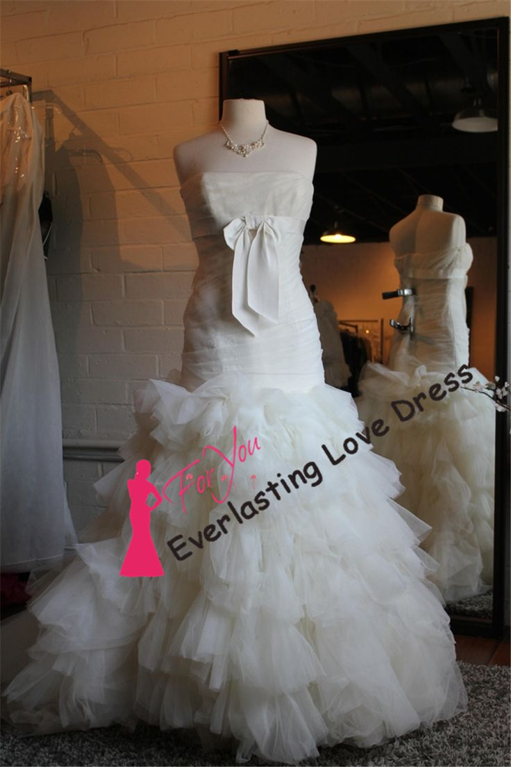 Привлекательный без бретелек Ruched с бантом раффлед органзы русалка свадебное платье vestidos пункт casamento свадебные платья