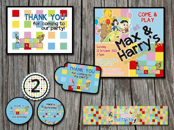 Playschool Kids Birthday Party Printable Set Invitation Thank you Tag - Modern, Contemporary Kids birthday Invitation - Printable, Digital