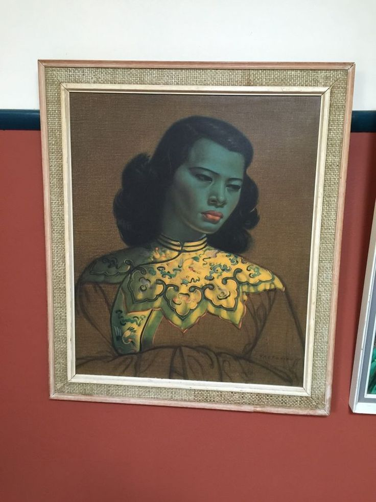 OLD VINTAGE MID CENTURY ORIGINAL PAINTING ART PRINT TRECHIKOFF GREEN LADY KITSCH