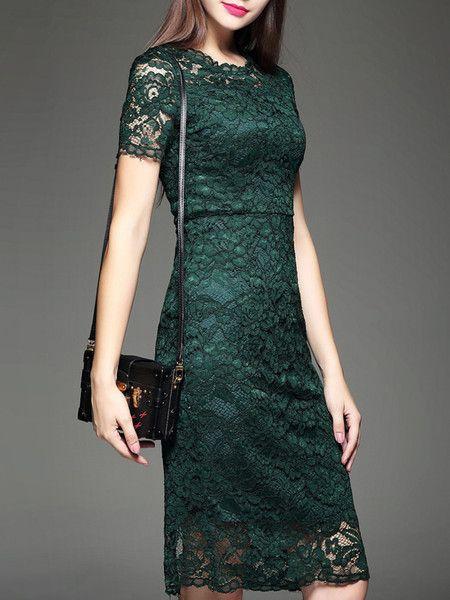 Green Crocheted Lace Midi dress