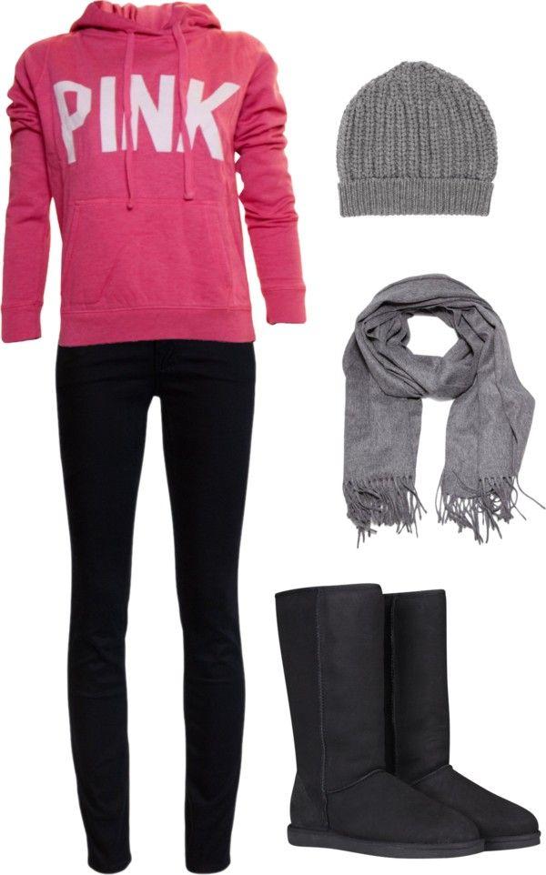 Pink sweatshirt, black jeans, black ugg boots, gray scarf & gray beanie.