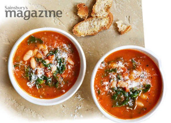 Sainsbury's magazine's kale and white bean soup with Parmesan toasts makes an elegant lunch or starter. Recipe by Alice Hart