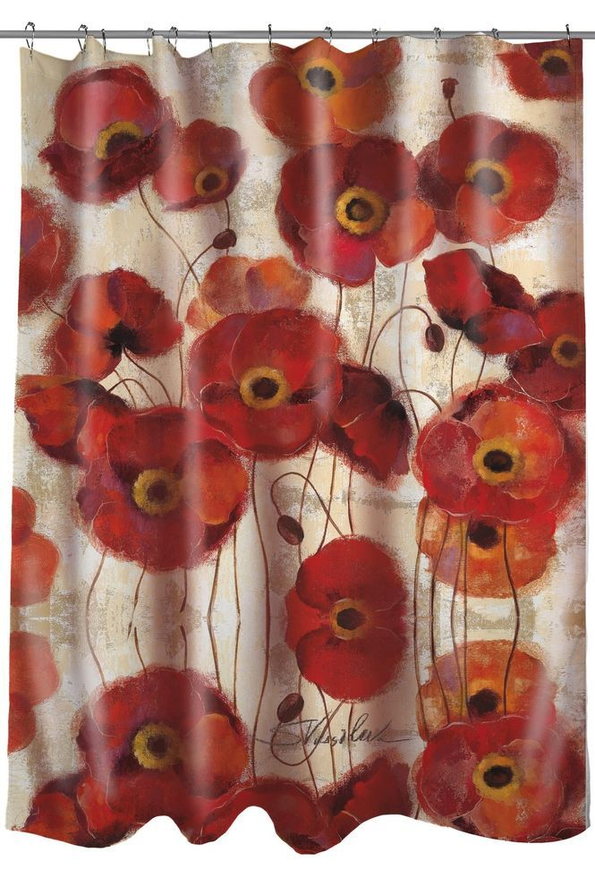 Thumbprintz Fabric Shower Curtain Bold Poppies Sturdy With Button Hole Top Printed In The USA