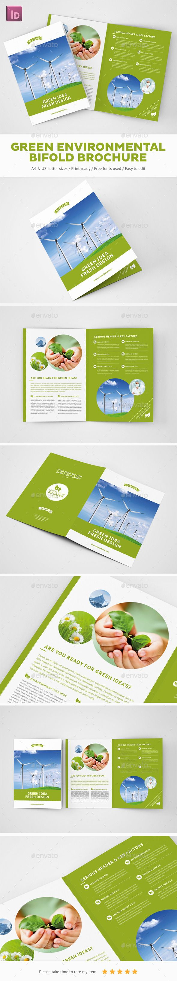 Green Environmental Bifold Brochure - Brochures Print Templates