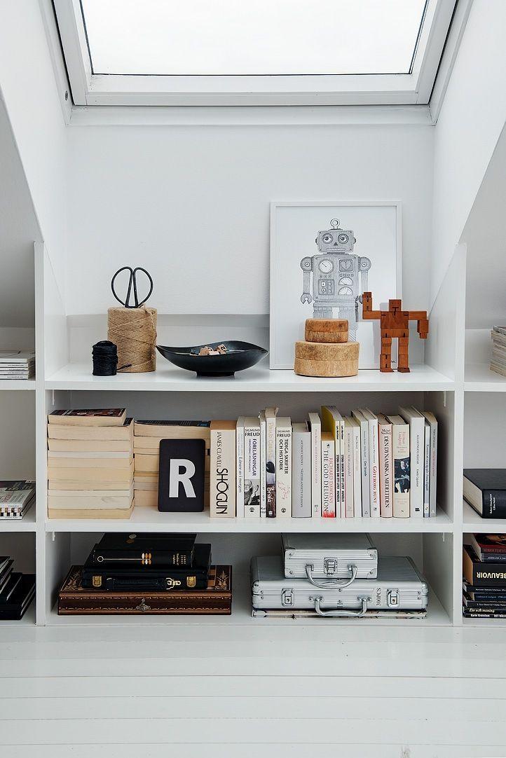 sloped ceiling, storage solution. details.