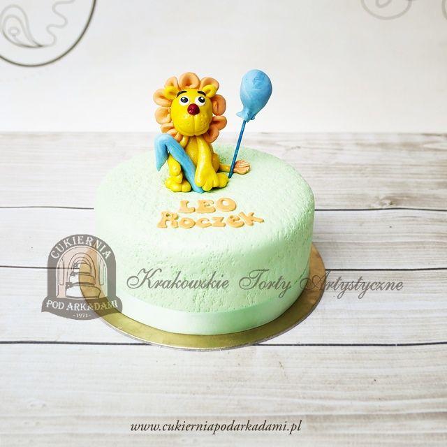195BD Tort na roczek z lwem i balonikiem. 1st birthday cake decorated with little lion topper.