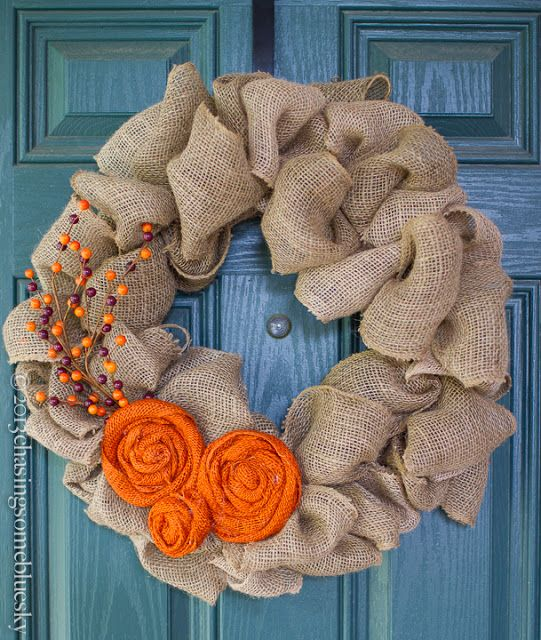Burlap Autumn Wreath...@Jocelyn Petcholan - this is so you Jocelyn!