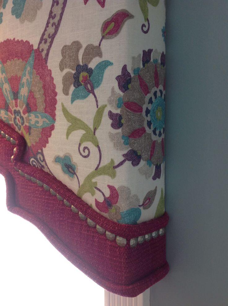 Cornice design for showroom with @Duralee Fabrics and nailheads by Kimberley Slater KA Signature Interior Design
