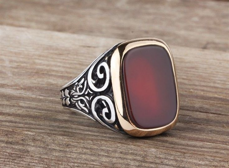925K Sterling Silver Gemstone Man Ring With Agate Stone (All Sizes) #IstanbulJewellery #Statement