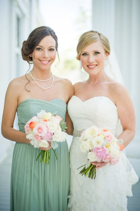 Brittany and Ryan Photo By Scobey Photography, peach, pink and ivory bouquet, celadon bridesmaid dress, j. crew dusty shale bridesmaid dress, lace wedding gown