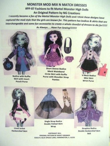 Monster High Doll Patterns to Sew