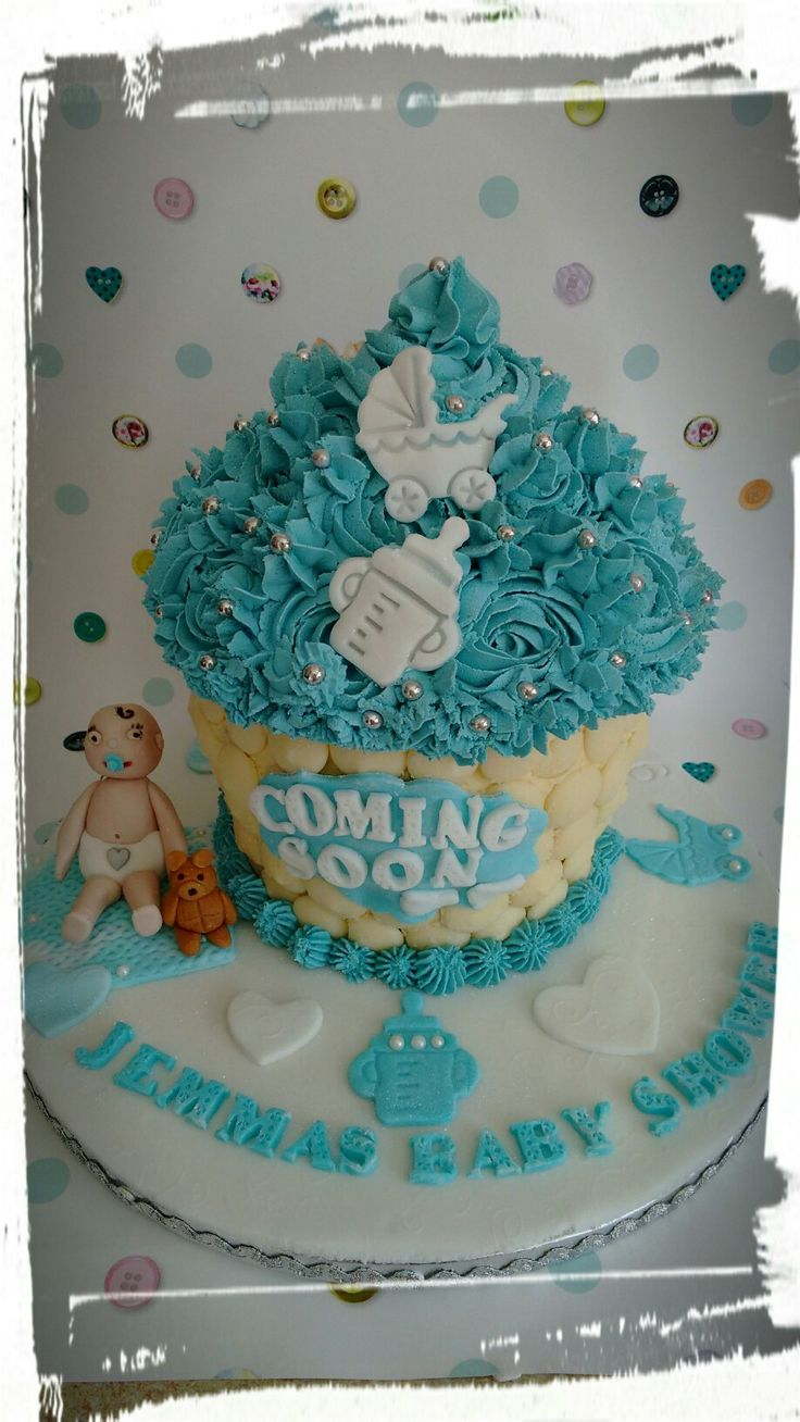 Giant baby shower cupcake