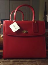 Coach Scarlet Red Leather Madison Biltmore 4417 NWT Made in Italy