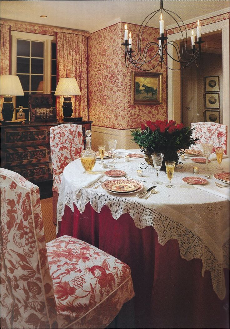 Charming country English dining room. Love the mix of textures and colors.