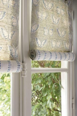 Vanessa Arbuthnott Hand Printed Fabric Collection Vintage Light Grey Roman Blinds With Blue Butterflies