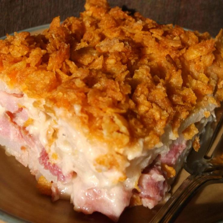 This is one of my favorite casseroles that I've created over the years. It's a delicious, creamy, cheesy ham and potato casserole with a crunchy, buttered cornflake topping. It's a great recipe for making the most of your leftover Easter ham! We love it and I'm confident that you will too.