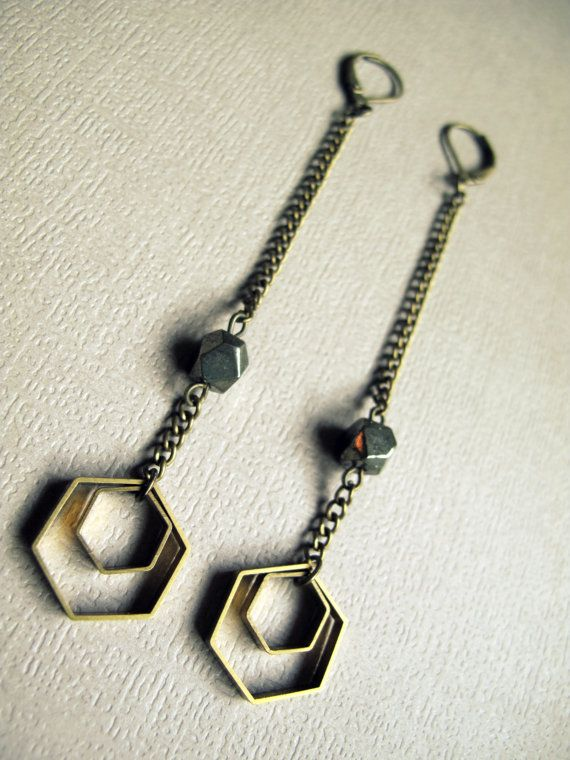 Geometric Honeycomb Earrings / Brass Hexagon Earrings / Pyrite Jewelry / Long Chain Earrings / Fool's Gold / Hipster Hippie Modern Tribal