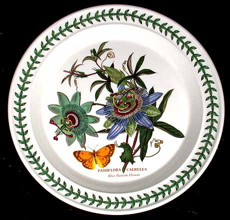 Portmeirion Botanic Garden Designs portmeirion botanic garden is rimmed round china with a multi motif floral design and brightly colored butterflies bees or dragonflies at the center Portmeirion Botanic Garden Dinner Plate Passion Flower