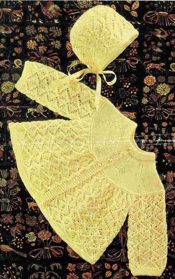 baby matinee coat bonnet set vintage baby knitting pattern PDF instant downlo...