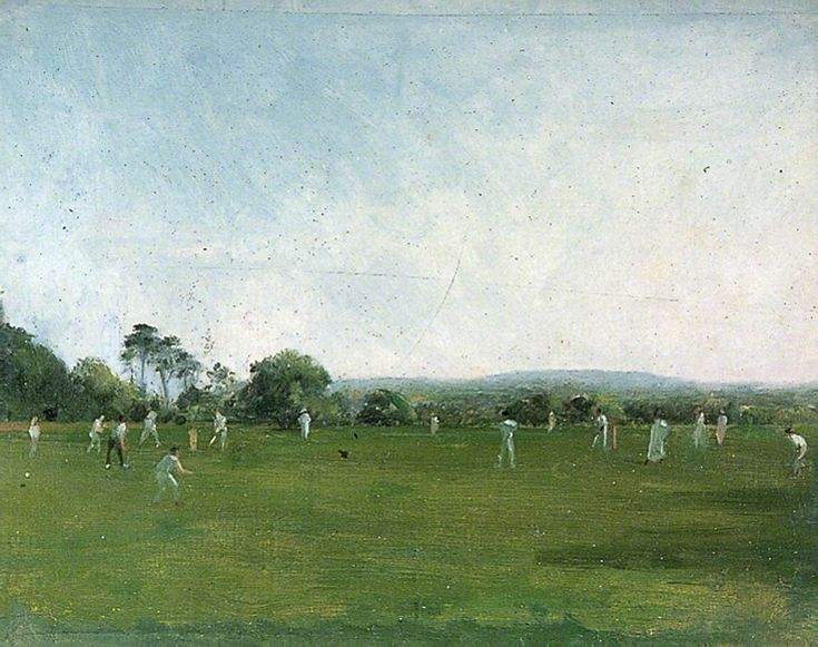 Cricket Match at Heathfield Park, Sussex henry thomas schafer 1854-1915